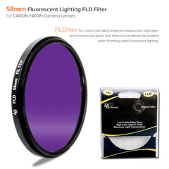 58mm Fluorescent Lighting FLD Light Low Profile Slim Design Lens Filter for Canon and Nikon Camera Lenses by Loadstone Studio