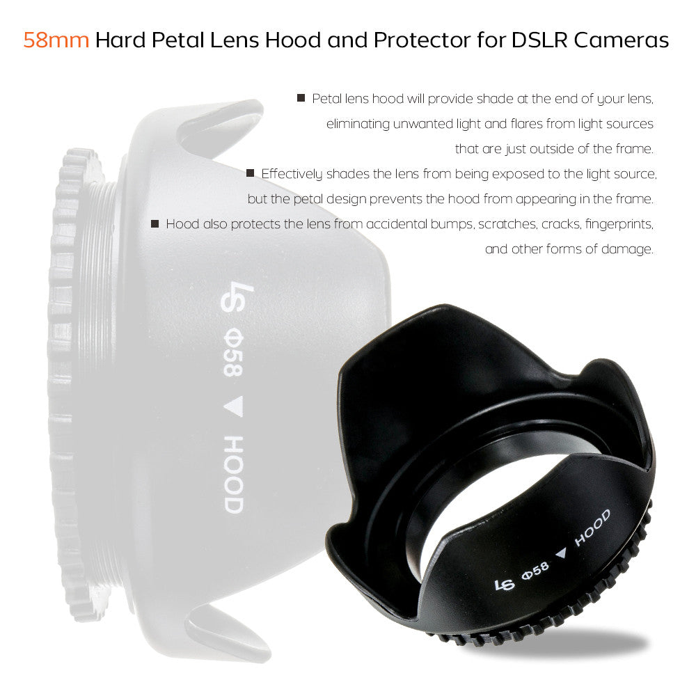 58mm DSLR Camera Petal Lens Hood for Nikon, Canon, Sony & Other Camera Lenses Plus Free Bonus Microfiber Cloth
