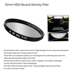52mm Double Threaded Neutral Density (ND2) Professional Photography Filter for Canon and Nikon Camera Lenses by Loadstone Studio