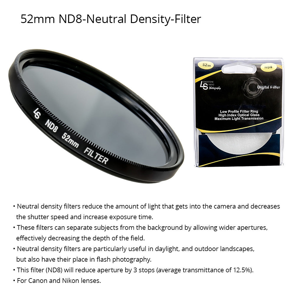 52mm Double Threaded Neutral Density (ND8) Professional Photography Filter for Canon and Nikon Camera Lenses by Loadstone Studio