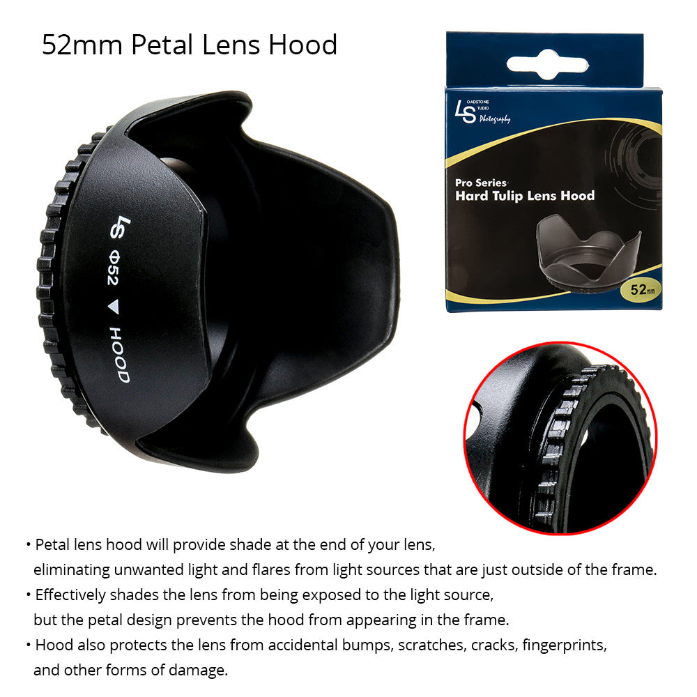 52mm Universal Screw-On Durable Rubber Petal Lens Hood and Protector for Canon and Nikon DSLR Camera Lenses by Loadstone Studio