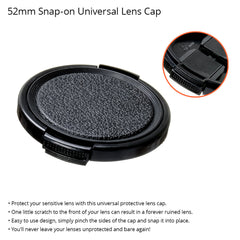 52mm Durable Plastic Snap-On Side Pinch Universal Protective Lens Cap for Nikon, Canon, and Sony DSLR Cameras by Loadstone Studio