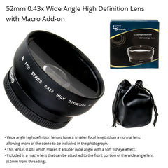 52mm Multi-Coated Universal 0.43X Wide Angle High Definition Lens with Detachable Macro Lens Included by Loadstone Studio