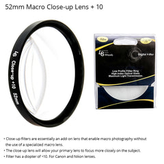 52mm Fixed Macro Close-Up Filter with +10 Diopter and Dual Ended Threading for Canon and Nikon Camera Lenses by Loadstone Studio
