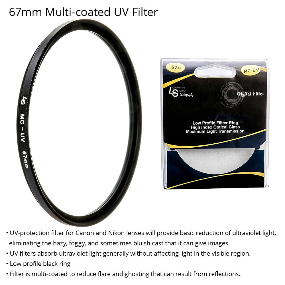 67mm Multi-coated Ultraviolet Ray UV Light Protection Low Profile Filter for Canon and Nikon DSLR Camera Lenses by Loadstone Studio
