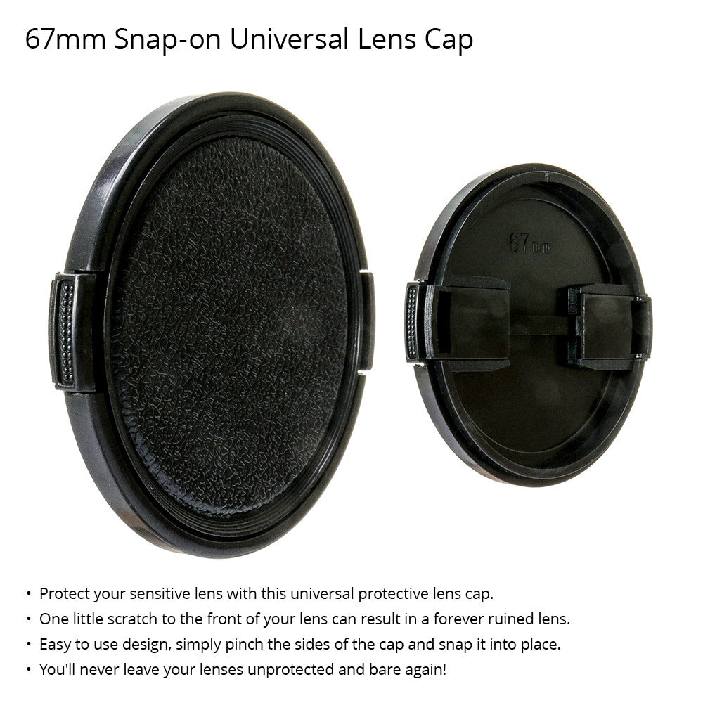 67mm Durable Plastic Snap-On Side Pinch Universal Protective Lens Cap for Nikon, Canon, and Sony DSLR Cameras by Loadstone Studio