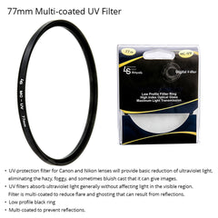 72mm Multi-coated Ultraviolet Ray UV Light Protection Low Profile Filter for Canon and Nikon Camera Lenses by Loadstone Studio