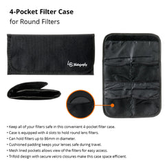 Four Pocket Protective Filter Case Trifold Wallet Pouch with Cushioned Mesh-lined Pockets for Round Filters