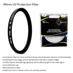 49mm Pro Series Ultraviolet Ray UV Light Protection Low Profile Filter for Canon and Nikon DSLR Camera Lenses by Loadstone Studio