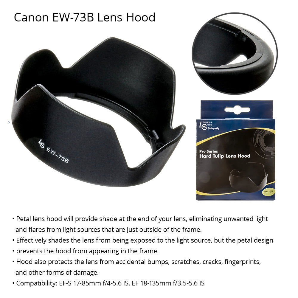 Secure Locking Durable Dedicated (Bayonet) Lens Hood for Canon Camera Lenses (Replacement for Canon EW-73B) by Loadstone Studio