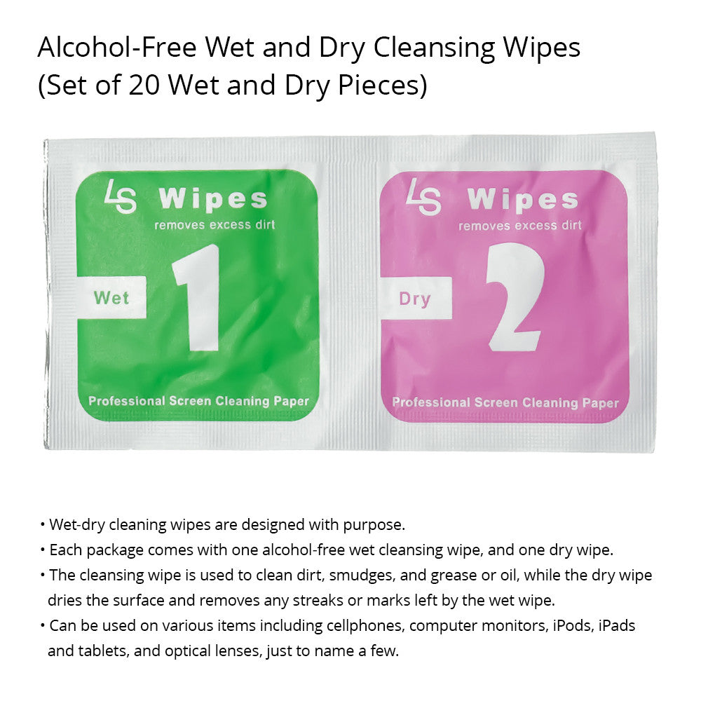 Alcohol-Free Wet/Dry Cleansing Wipes for Eyeglasses, Phones, Tablets and Other Electronics and Optical Items