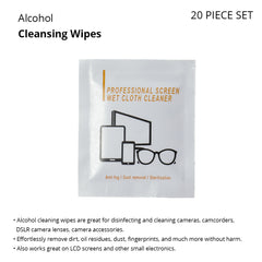 Alcohol Cleansing Wet Wipes for Cameras, Cellphones, Tablets, Eyeglasses, & Other Electronics & Optical Items