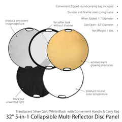 "32"" 5-in-1 Collapsible Reflector Disc Panel with handles Silver, Gold, White, Black, Translucent in Carry Bag by Loadstone Studio"