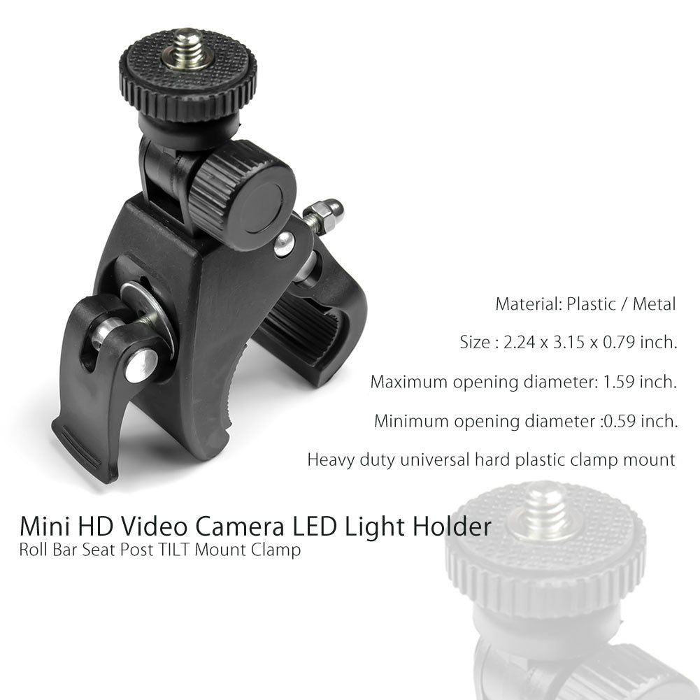Action Camera Mount, Bike Mount, TILT Mount Clamp Clip Bracket for Stand Cross Bar, Photo Video Studio