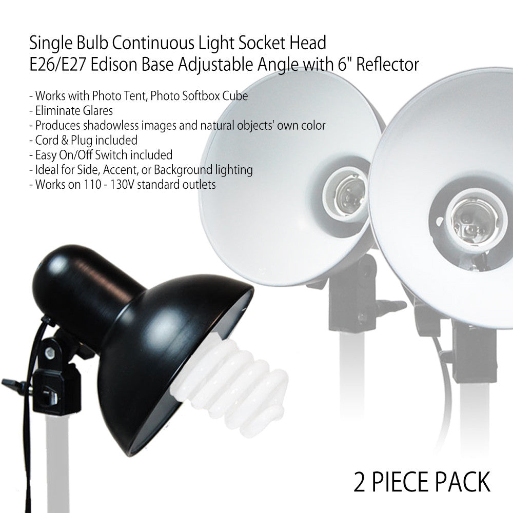 "30"" Complete Product Photography Tent Kit with 2x 6"" Reflector Lights, 2x 45W CFL Bulbs, 4 Color Backdrops"
