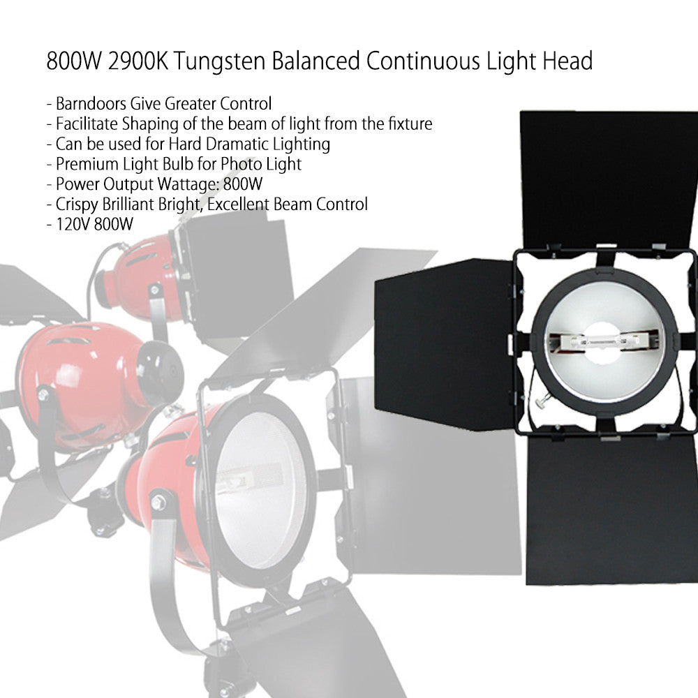 800W Halogen Tungsten Continuous Adjustable Focus Barndoor Light Head for Photo, Film, Stage, Video by Loadstone Studio