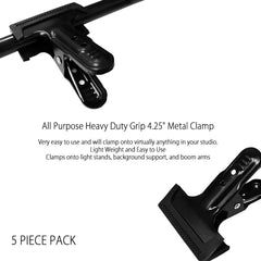 "Set of 5 Heavy Duty 4.25"" Photo Studio Accessory & Backdrop Clamps High Quality Black Premium Metal"
