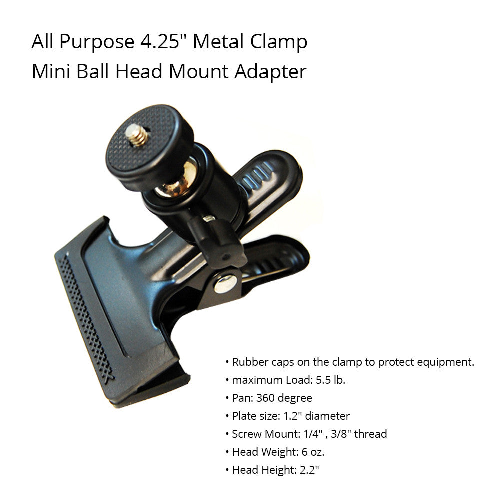"Metal Clamp Mini Ball Head with Flash Hot Shoe Mount Adapter 1/4""-20 Thread Mount for Photo Accessories"