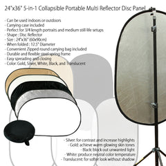 "24x36"" 5-in-1 Collapsible Reflector Disc Panel Silver, Gold, White, Black, Translucent in Carry Bag by Loadstone Studio"