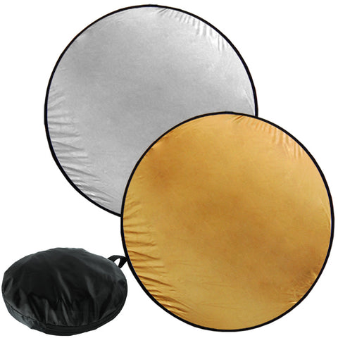 "Loadstone Studio 43"" Photography Photo Video Studio Lighting Disc Oval Reflector, 2-in-1, 2 Colors, Gold, Silver,"