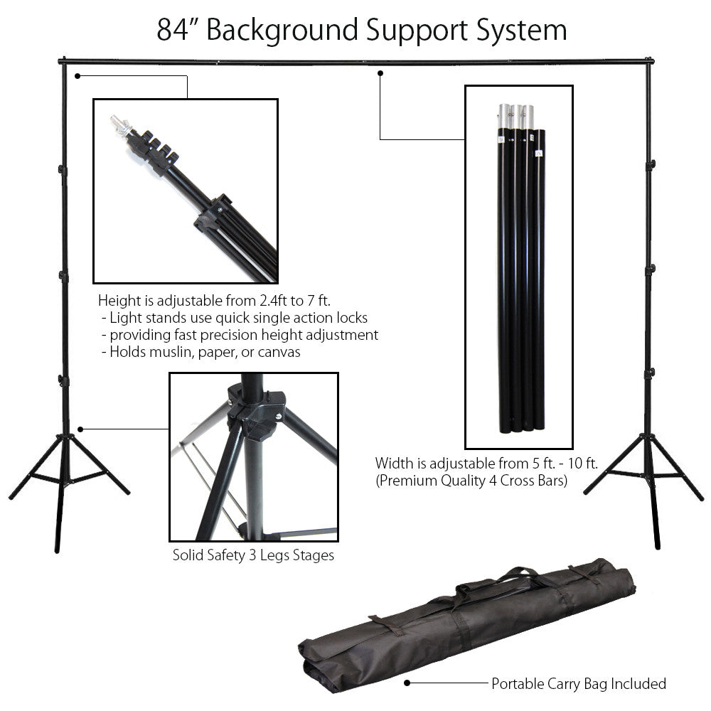 10x7' Height Adjustable Background Support System with 3 Section Telescopic Stand and 4 Section Crossbar by Loadstone Studio