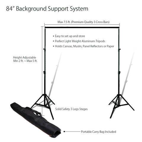 "84""/ 7.5ft Adjustable Backdrop Background Muslin Support System with Carry Bag for Photography Lighting by Loadstone Studio"