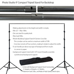 4x 45W Lighting Kit with Boom Arm, 2x Softboxes, 2x Umbrellas, 4x Stands, 3x Muslins, & Backdrop Support by Loadstone Studio