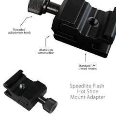 "Speedlite Flash Cold Shoe Hot Shoe Adapter Light Mount 1/4"" for Photo Lighting and Accessories"