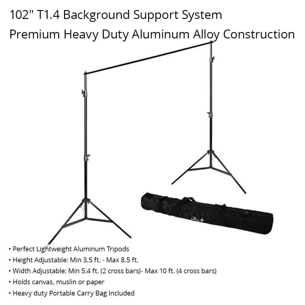 6'x9' ft. Photo Video White Black Muslin Backdrop with Heavy Duty T1.4 Background Support Stand System by Loadstone Studio