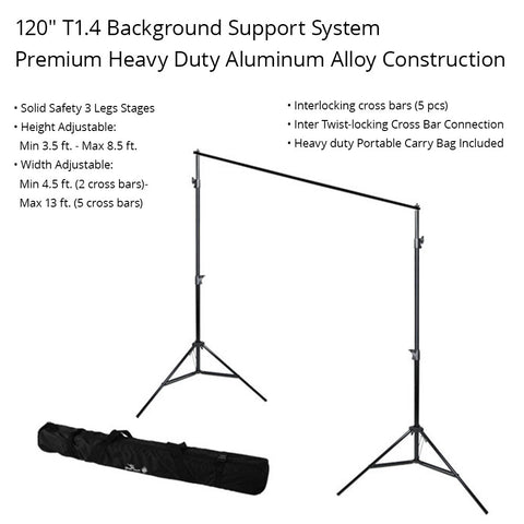 "120""/ 10ft Background Support System T1.4 Heavy Duty Adjustable Aluminum Alloy Stands, Crossbar and Carry Bag by Loadstone Studio"