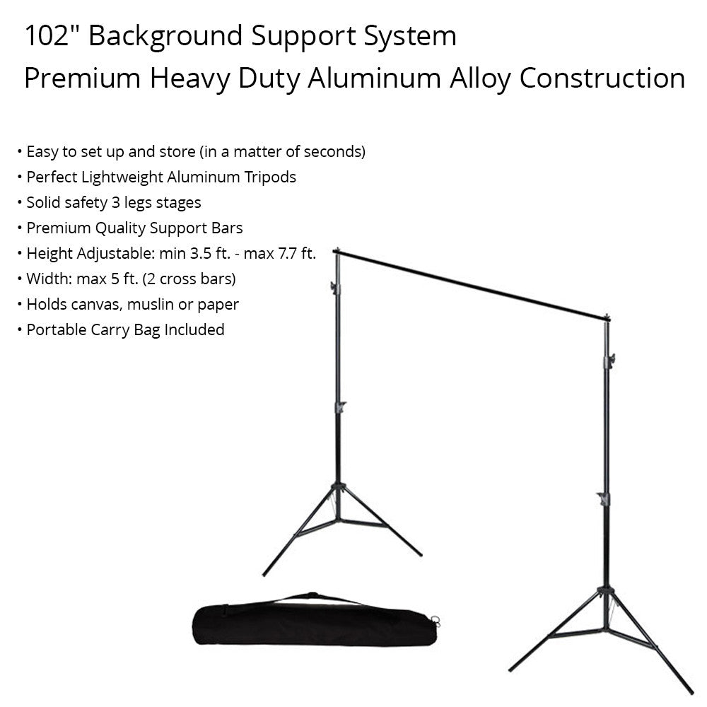 10' x 20' Chromakey Jet Black Pure Top Quality Seamless Muslin Backdrop and Background Support System Set by Loadstone Studio