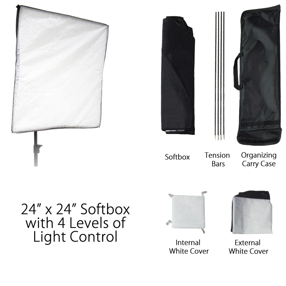 Studio Flash Softbox Setup with Velcro Soft White Diffuser, Inner Baffle, and Universal Speed Ring Adapter