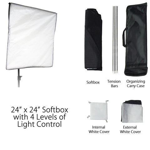 "24"" Square Diffusion Fabric Silver Interior Softbox with Carry Bag for Photography and Video Lighting"