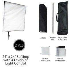 2000W Double Softbox Light Kit with CFL Bulbs, 2x Stands and 2x Multiple Socket Heads for Photography Lighting by Loadstone Studio