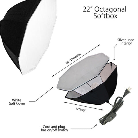 Single Octagon Softbox with Adjustable Light Stand and 85W CFL Bulb for Photography and Video Lighting by Loadstone Studio