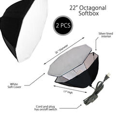 Set of Two Reflective Silver Interior Single Socket Octagon Softbox with On/Off Switch and Two 45W Bulbs