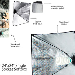 Softbox Diffusion Kit with Light Bulb Socket Head and AC On/Off Switch Cord for Photo Video Lighting