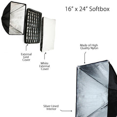 "16""x24"" Professional Low Key Lighting Softbox Kit with Egg Crate Grid and Universal Flash Strobe Speedring Photo Video Strobe"