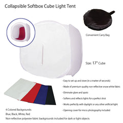 "16"" Tabletop Product Photo Collapsible Light Tent Cube Box with Multiple Color Backdrops in Red, Black, White, Blue"