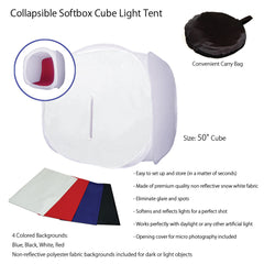 "50"" Tabletop Product Photo Collapsible Light Tent Cube Box with Multiple Color Backdrops in Red, Black, White, Blue"
