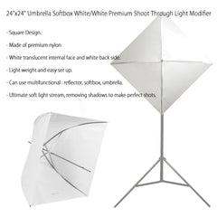 Premium Pure White Shoot Through Square Umbrella Softbox with 8mm Shaft for Easy Mounting for Photography