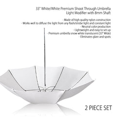 "Set of Two 33"" White Diffusion Shoot-Thru Light Umbrella with 8mm Shaft for Photography and Video Lighting"