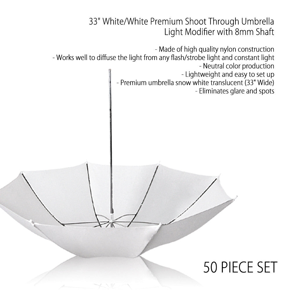"50x 33"" Inch Pure White Diffusion Shoot Thru Umbrella for Photography Light and Video Lighting"