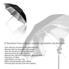33 Inch Black Exterior and Silver Interior Reflective Umbrella for Photography and Video Lighting