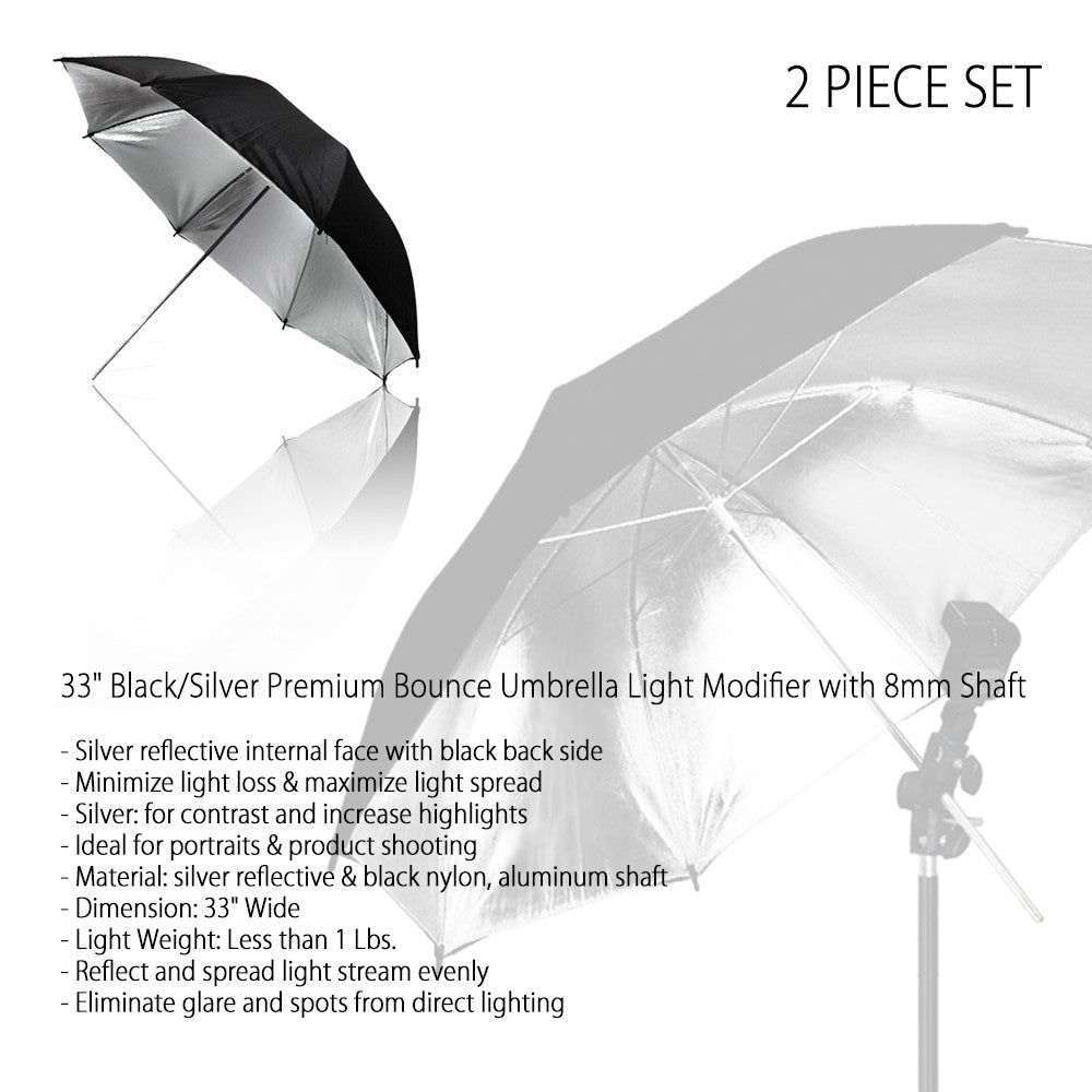 Set of Two 33 Inch Black Exterior and Silver Interior Reflective Umbrella for Photo and Video Lighting