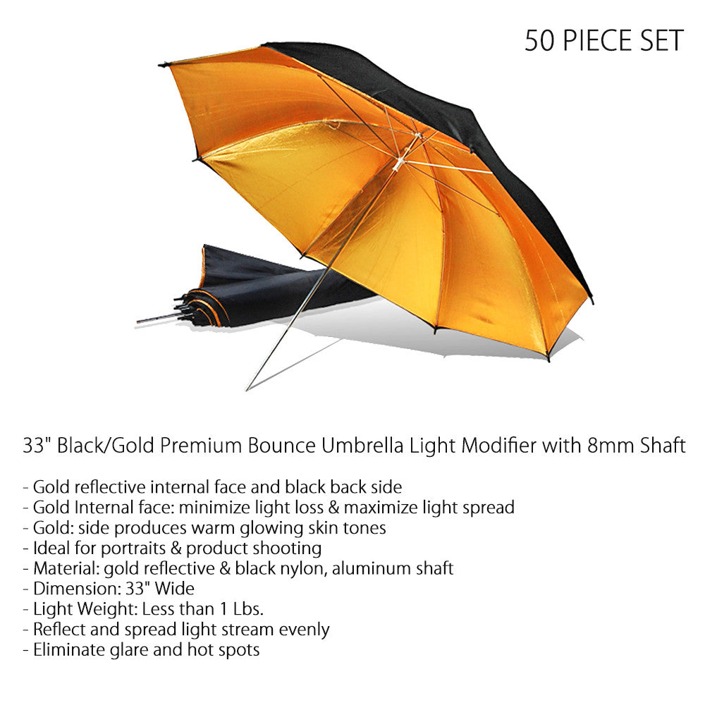"Set of 50, 33"" Black and Gold Premium Light Bouncing Umbrella Light Modifier 8mm Shaft Reflective Inside"
