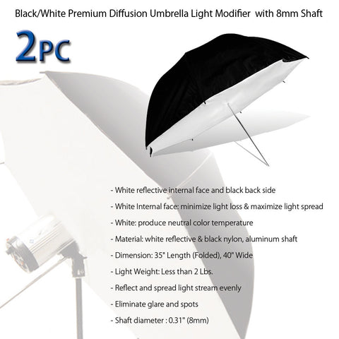 2 White and Black Double Layered Umbrella Reflector Diffuser Brolly Box