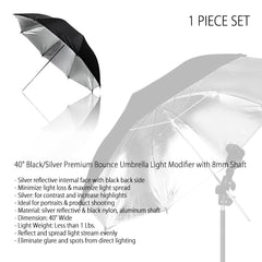 "40"" Professional Black & Silver Reflective Umbrella with 8mm Shaft for Photography and Video Lighting"