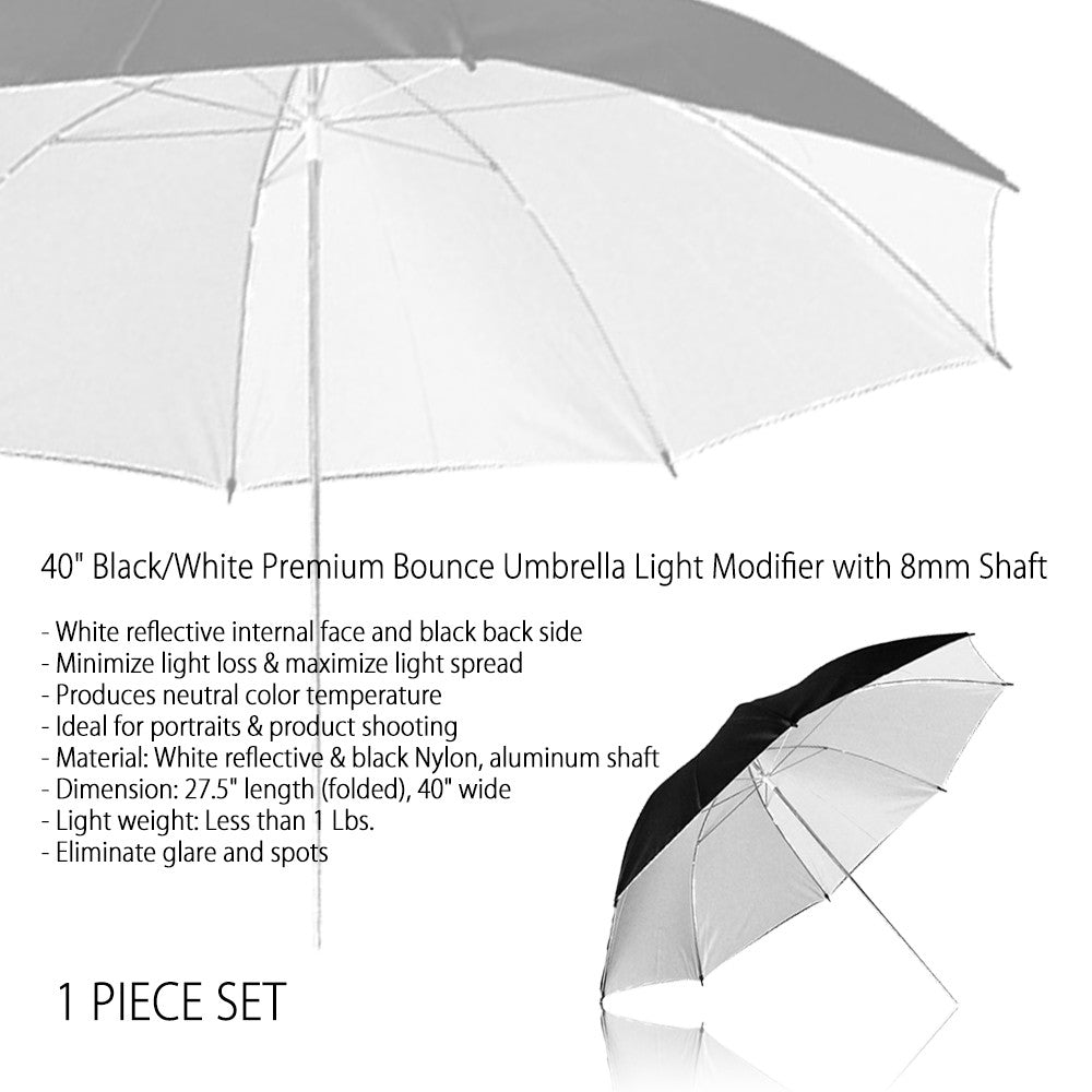 "40"" Professional Black & White Reflective Umbrella with 8mm Shaft for Photography and Video Lighting"