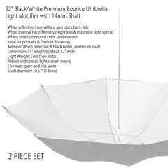 Set of Two Black and White Premium Bounce Umbrella Light Modifier for Photography and Video Production